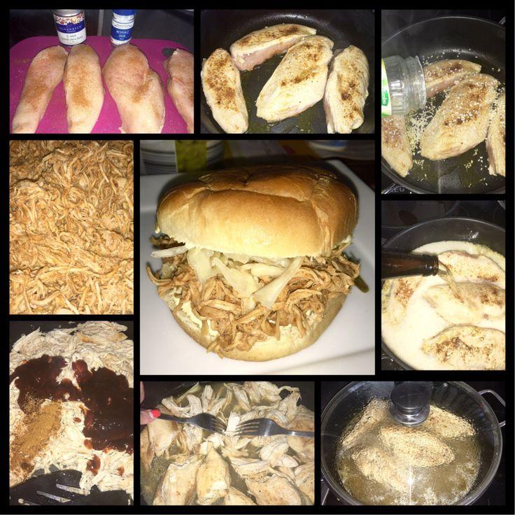 Herrlich zartes, deftiges aber fettarmesPULLED CHICKEN (es muss ja nicht immer fettiges Schweinefleisch sein ;-) ) 1kg Hähnchenbrust mit Salz, Pfeffer u. reichlich Cajun Gewürz (Mix mit Knoblauch,…