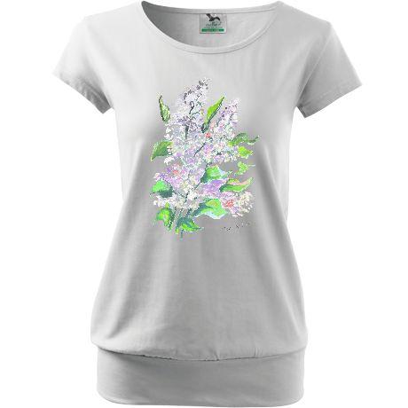 Koszulka biała z kwiatami. Dół wykończony ściągaczem. Wygodna koszulka i elegancki wygląd. Akwarela bzy.