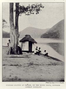 Customs station at Chease, on the River Volta, opposite German Togoland. Schomburg Center for Research in Black Culture, General Research and Reference Division.