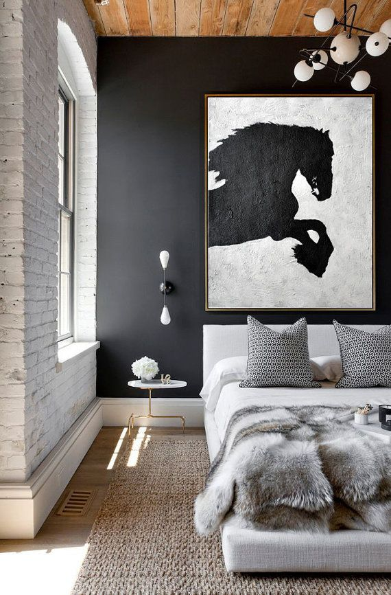 Black And White Horse Painting Minimalist Art, Large Canvas Art. Abstract Painting, Modern Art. Hand Painted Acrylic Painting.