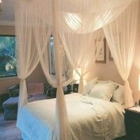 Black/White 4 Corner Post Bed Canopy Mosquito Net Full Queen King Size Netting Bedding Features: Br