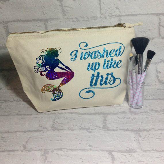 Mermaid Makeup Bag, Cotton Makeup Bag, Mermaid Life, Gift for her, Mermaid Gift, Wash bag, Festival Essentials, Zippered Bag, Cosmetic Bag.