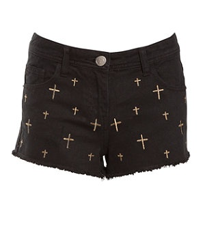 Black (Black) Black Gold Cross Embroidered Denim Shorts | 257190501 | New Look: Gold Cross