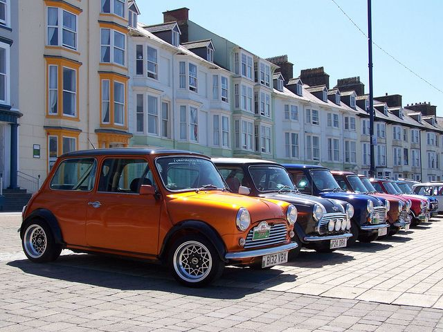 Classic Minis on Aberystwyth Seafront by O W Baglow