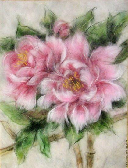 Картины цветов ручной работы. Ярмарка Мастеров - ручная работа. Купить Картина из шерсти Китайские пионы. Handmade. Розовый, Живопись