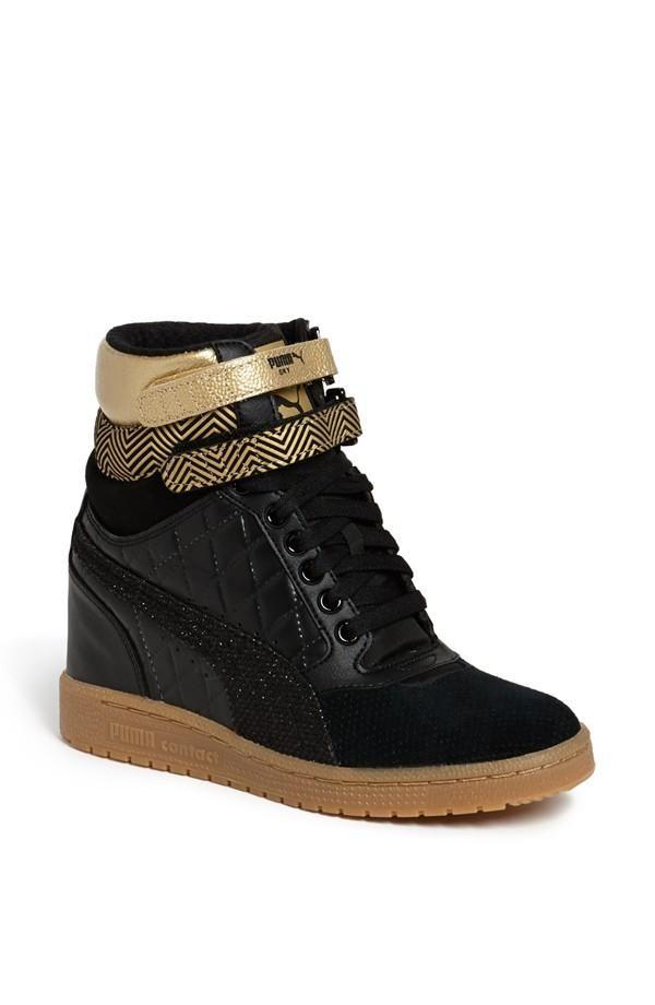 black wedge sneakers