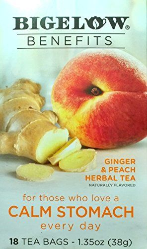 Bigelow Benefits Herbal Tea Pack Of 2 Ginger Peach 18 Count Boxes