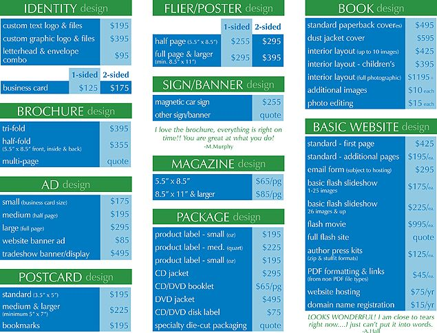 Pricing Guide - Graphic Design Services - Imagine!Studios