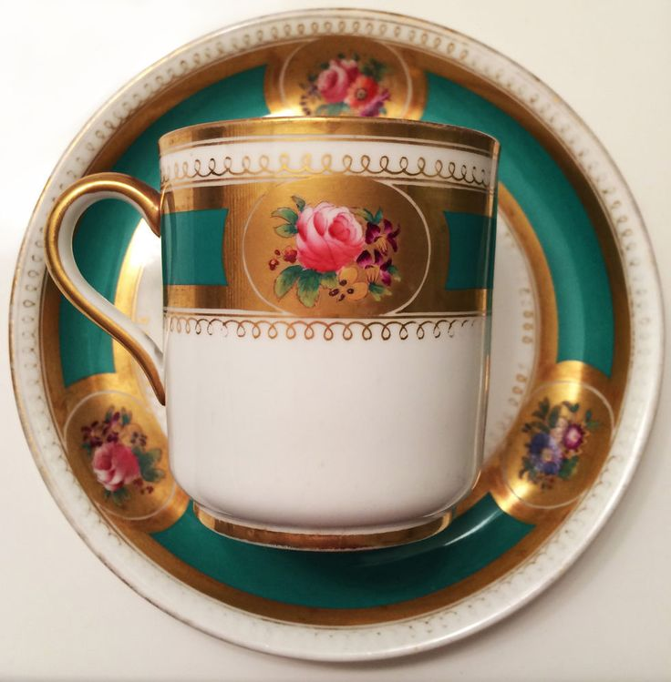 c.1860 Beautifully Hand-painted Small Staffordshire Victorian Teacup and Saucer  #Staffordshire