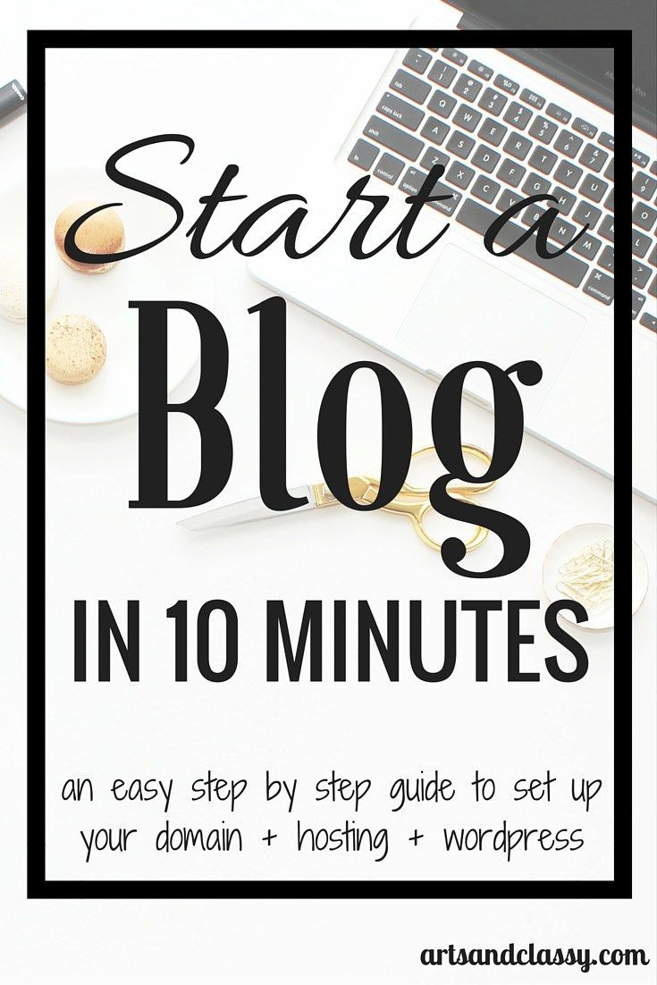 Start a blog in 10 minutes. An easy step by step guide to set up your domain + hosting + wordpress at artsandclassy.com. Are you interested in starting a blog of your own? What about one that makes money? If so, read this post today that will show you how to start your very own blog for a bargain!