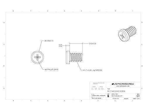M1.7 - 0.35 X 2.5MM Machine Screw Zinc Plated Steel Pan Head Phillips Drive (100 Pcs) - M17-25-M-Z-P