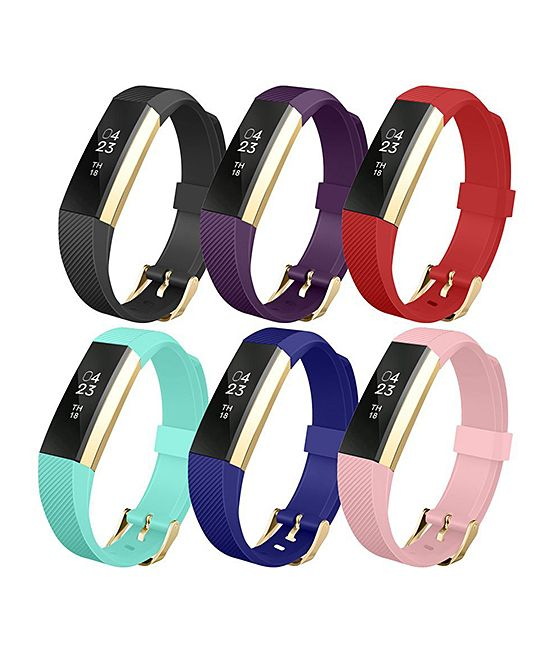 This rainbow of silicone wristbands flexes comfortably to your fit and safeguards your Fitbit throughout intense training sessions.Includes six wristbandsFits most wrists 5'' to 8''Compatible with Fitbit AltaBuckle closureSiliconeImported