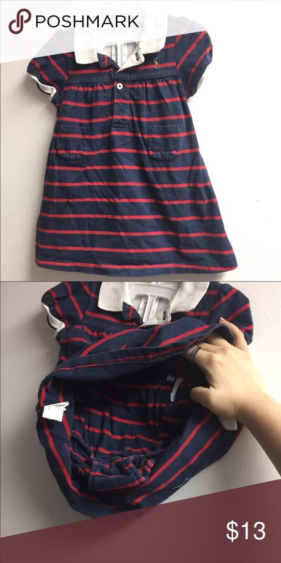 Baby polo striped dress Baby navy blue and red striped polo dress with matching panties. Clean. No stains. Size: 9 months -All listings also available on ♏️ercari for cheaper shipping- Ralph Lauren Dresses Casual