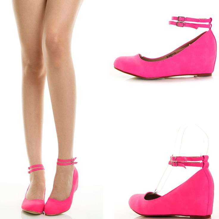 Neon Hot Pink Ankle Strap Hidden Wedge Heel Womens Ballet Flat Ballerina Pump US #CC #PlatformsWedges