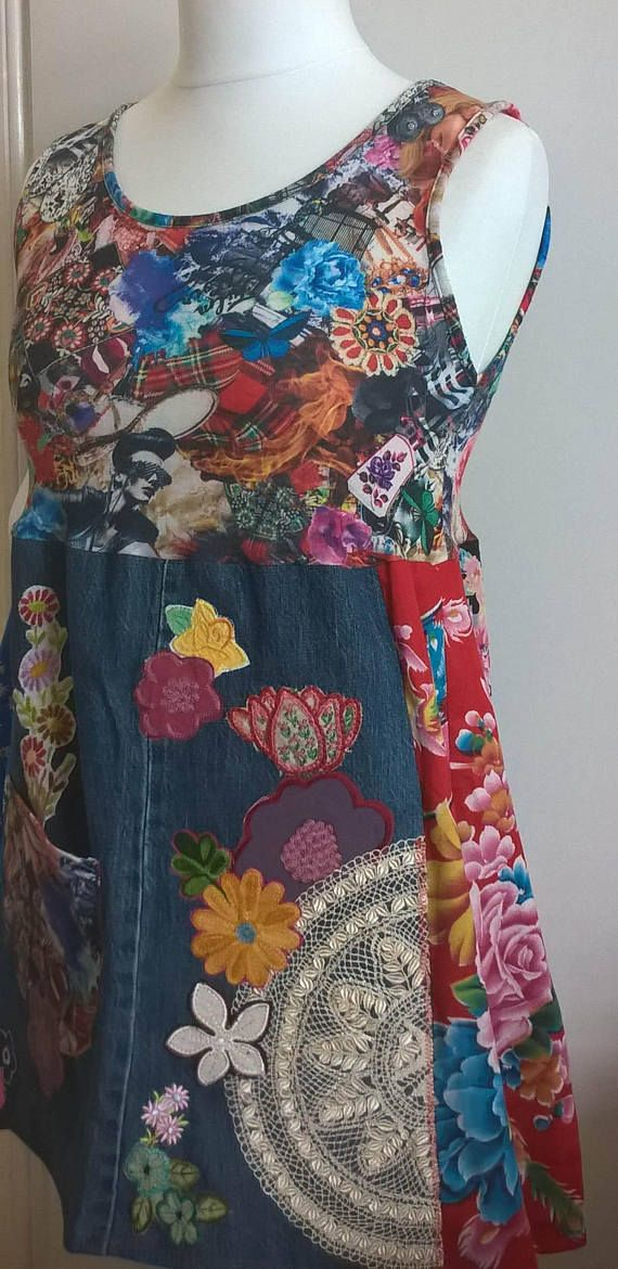 This dress is a stunning wearable work of art! Coloured top in a bold collage print is a lovely soft cotton knit. The skirt is a collection of bold cotton prints and denim with many bright embroidered unique embellishments. A conversation piece that will turn heads! Measurements:  Bust 35ins lying flat unstretched, will stretch comfortably to 40 ins or worn loose at a smaller size  Length approx 30 - 33 inches.  Please CHECK your measurements carefully.   Returns Policy: I do accept returns…