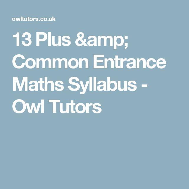 13 Plus & Common Entrance Maths Syllabus - Owl Tutors