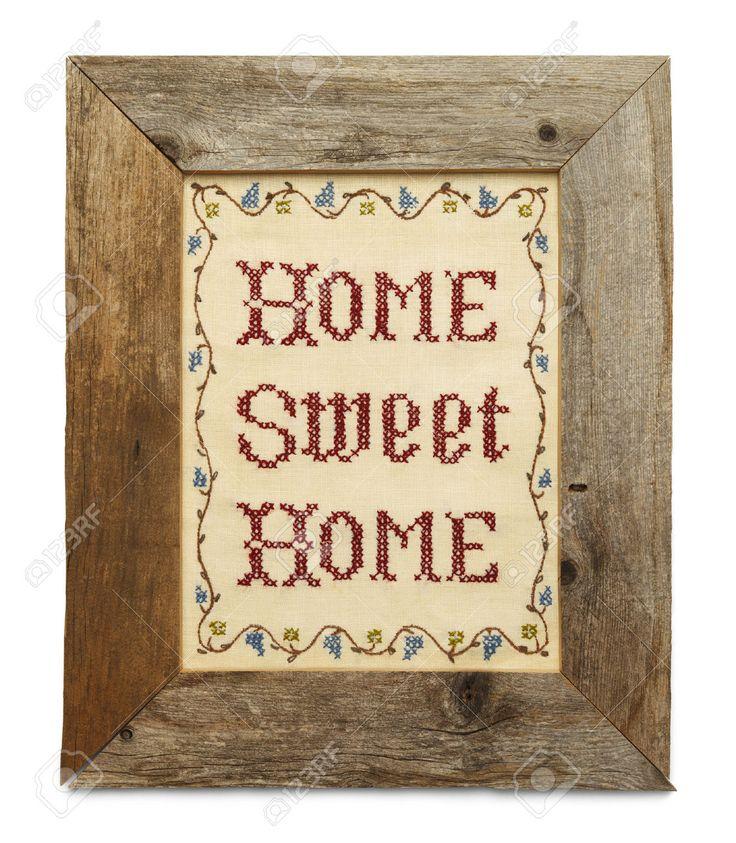 Home Sweet Home Punto Croce In Legno Rustico Telaio Isolato Su Sfondo Bianco. Foto Royalty Free, Immagini, Immagini E Archivi Fotografici. Image 38251561.