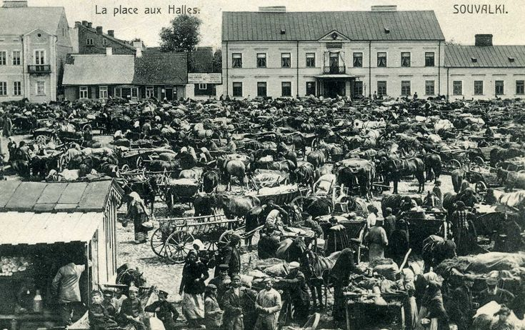 "Suwalki ""La Place aux Halles"" (The Marketplace) Mailed in 1911."