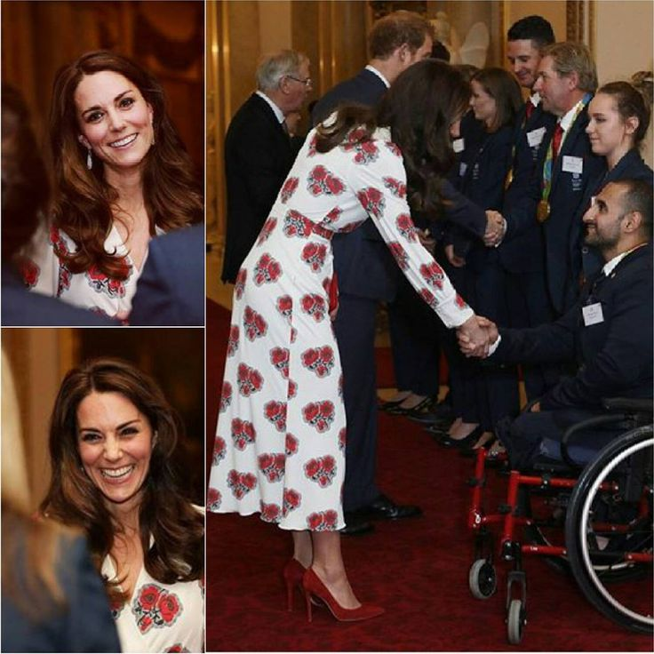 The Queen & Prince Phillip are hosting a reception at Buckingham Palace for Team GB Olympic and Paralympic medalists along with The Duke & Duchess of Cambridge and Prince Harry, Kate's wearing a new Alexander McQueen dress