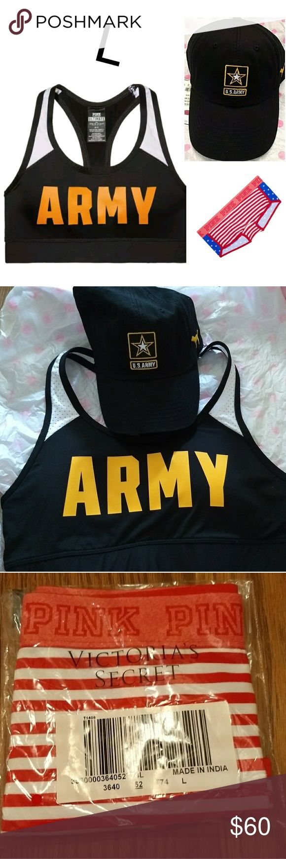 VS PINK US ARMY Hat Sport Bra Americana Panty L New with tags / original VS warehouse packaging. From a smoke-free and pet-free home. Price is firm. I'm sorry I don't trade.   VS PINK US Army Adjustable Baseball Hat- OS, Embroidered VS PINK Logo Boyshort- Americana Print, L VS PINK US Army Sport Bra - L (36C, 36D) PINK Victoria's Secret Other