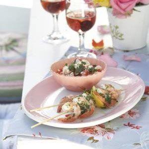Grilled prawns on skewers