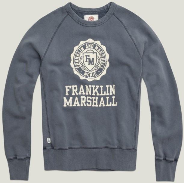 "Crew-neck men's sweatshirt with printed logo and ""Franklin & Marshall"". natural blue 