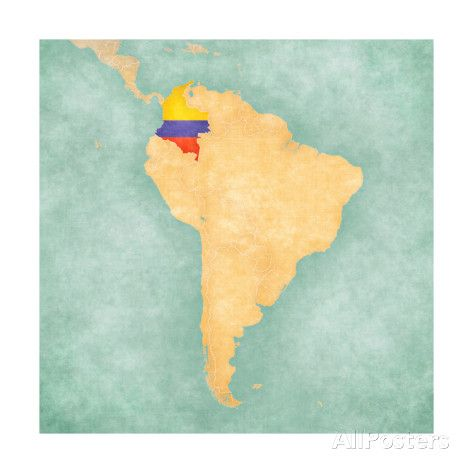 Map Of South America - Colombia(Vintage Series) Prints by Tindo at AllPosters.com