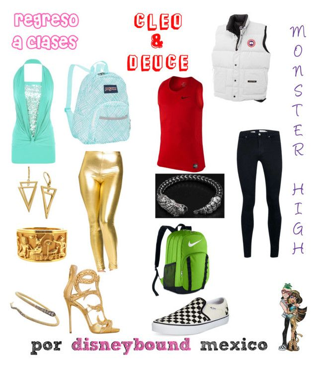 """""""Clero & Deuce"""" by disneybound-mexico on Polyvore featuring WearAll, Giuseppe Zanotti, JanSport, NIKE, Canada Goose, Topman, Vans, BackToSchool, MonsterHigh and CleoDeNile"""