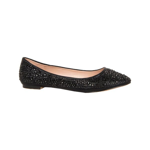 Women's Lauren Lorraine Lizzy Ornamented Ballerina Flat ($89) ❤ liked on Polyvore featuring shoes, flats, black flat shoes, black evening shoes, ballet flats, ballet shoes and black ballerina flats