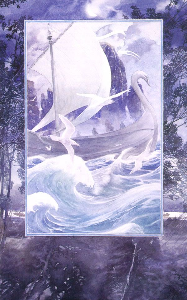 """Alan Lee """"This painting is of the swan ships, in particular those of Cirdan the shipwright. It illustrates the depth of feeling that the Elves have for the sea."""""""