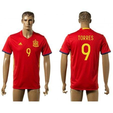 Spanien 2016 Fernando #Torres 9 Hjemmebanetrøje Kort ærmer,208,58KR,shirtshopservice@gmail.com