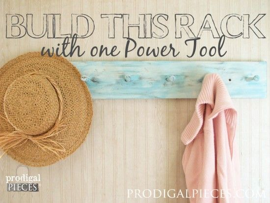 One Power Tool Challenge Using a Drill to Build a Coat / Towel Rack by Prodigal Pieces www.prodigalpieces.com #prodigalpieces