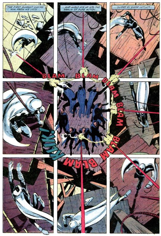 Bill Sienkiewicz 1981: Moon Knight #9  Color: Bob Sharen    Sienkiewicz utilizes the basic 9-panel grid to deliver an innovative clockwise-oriented layout.