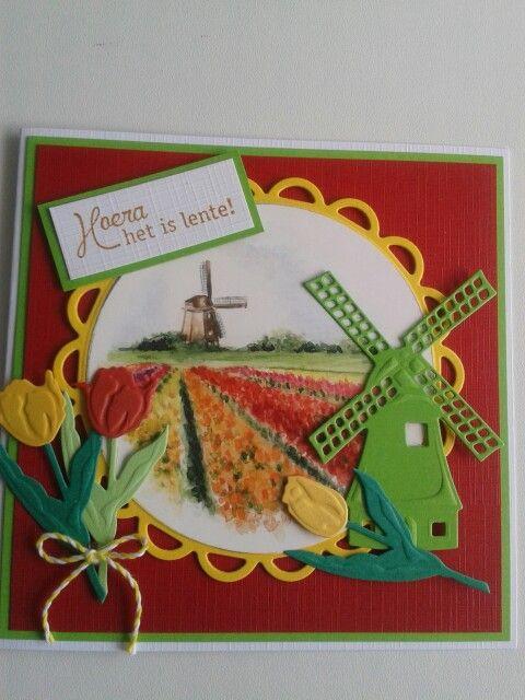Hoera het is lente kaart met molen en tulpen.