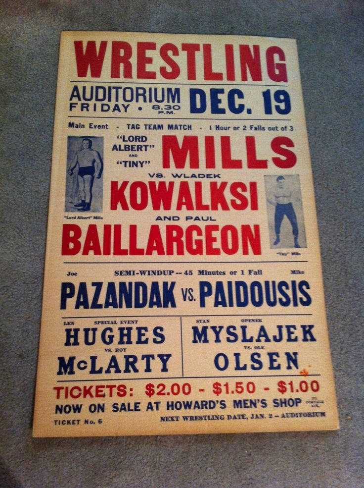 Vintage 1952 Wrestling Poster Tiny Lord Albert Mills Killer Kowalski Winnipeg | eBay