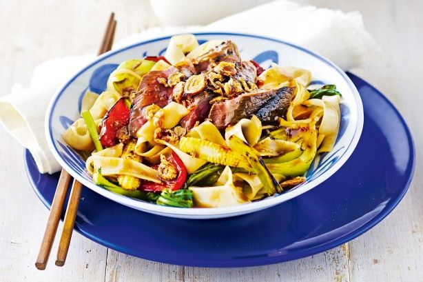 Grilled beef and black bean noodles - Create a tasty Asian dish with this grilled beef and black bean noodle recipe.