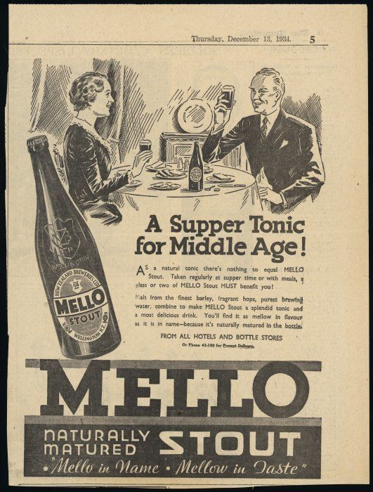 Newspaper advertisement for Mello stout