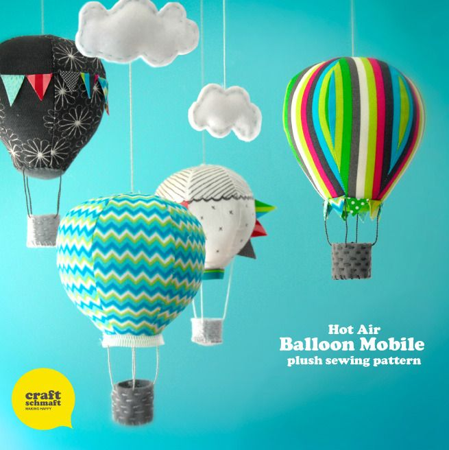 The Air Balloon mobile pattern is up, up and away...hooray!