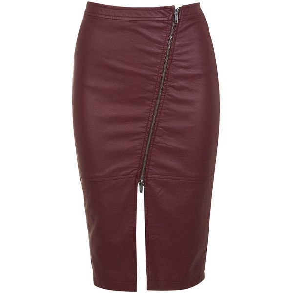 Miss Selfridge Leather Effect Burgundy Skirt ($35) ❤ liked on Polyvore featuring skirts, burgundy, red skirt, miss selfridge, leather zipper skirt, knee length leather skirt and zipper skirt