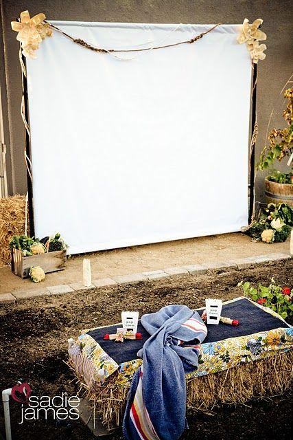 """Dinner and a Movie"" party ideasDinner, Birthday Parties, Outdoor Movie Parties, Outdoor Movie Party, Parties Ideas, Backyards Movie, Outdoor Entertainment, Outdoor Movie Nights, Movie Screens"