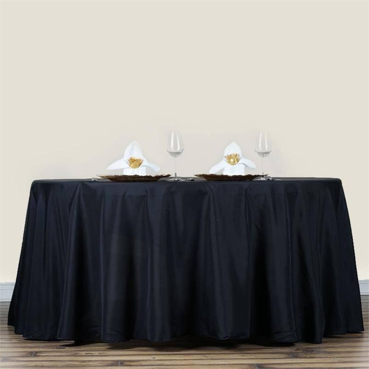 """70"""" BLACK Wholesale Polyester Round Tablecloth For Wedding Banquet Restaurant"""