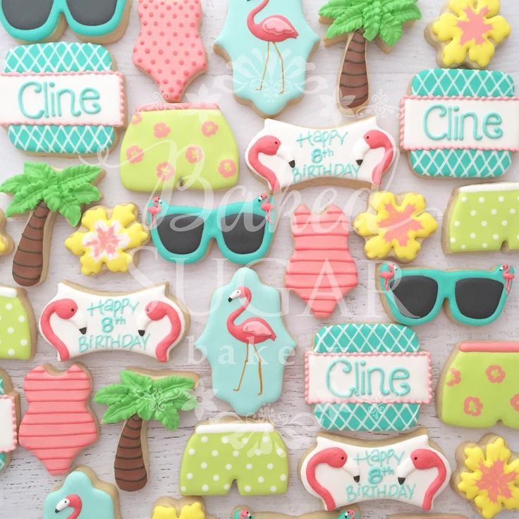 Flamingos and swim birthday party for a sweet 8... - Baked Sugar Bakery