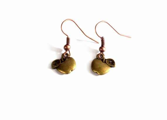 Antique Brass Apple Charm Dangle Earrings/ by BeyondtheWire