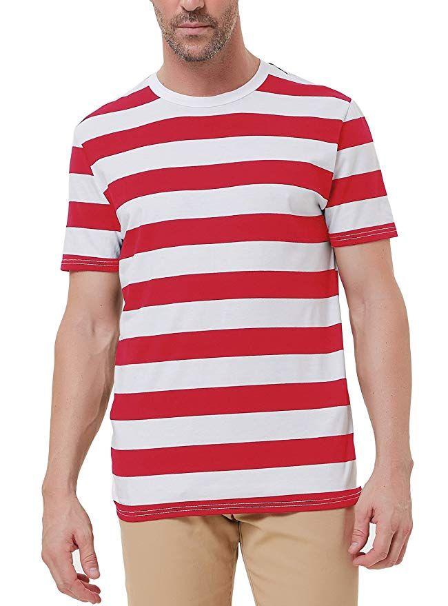 a88ac87e4d Amazon.com: PAUL JONES Men's Basic Striped T-Shirt Crew Neck Cotton ...