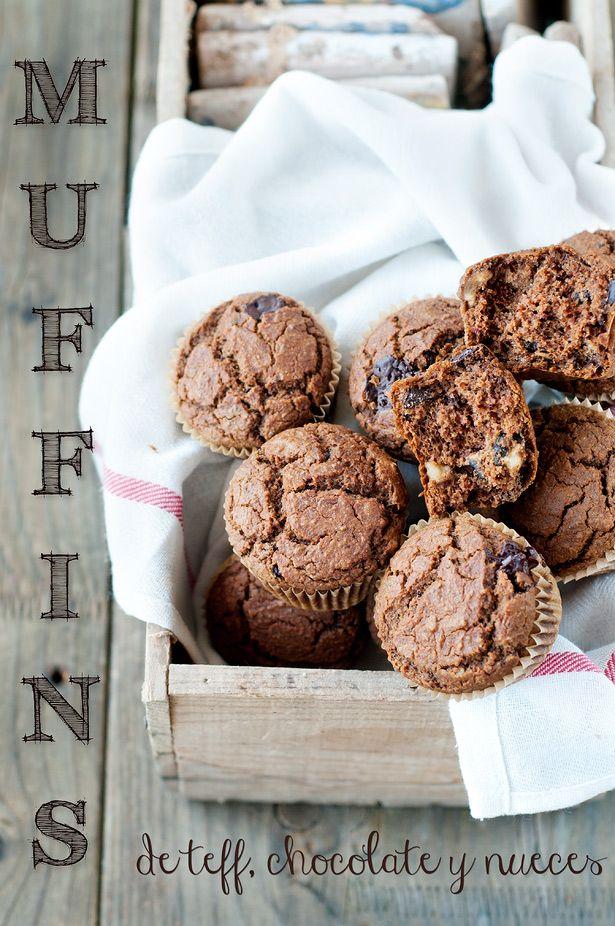 Receta: Muffins de Teff, Chocolate y Nueces (sin gluten, sin lácteos, sin azúcar refinado)