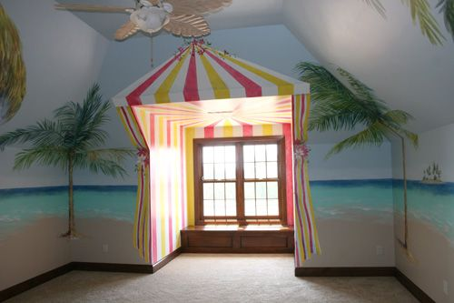Hawaiian bedroom tropical palm tree cabana wall home for Hawaiian themed bedroom designs