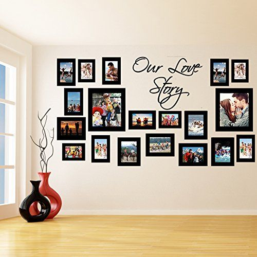 70 x 39 cm sticker mural en vinyle avec cadres photos motif our love story photos art decor. Black Bedroom Furniture Sets. Home Design Ideas