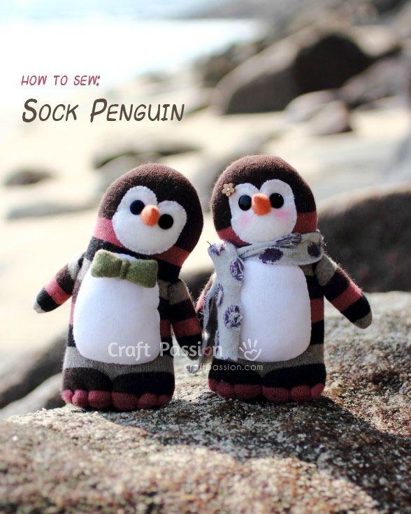 Trop mignon ces pingouins faits à partir de chaussettes.  DIY-Sock-Penguin-and-Free-Pattern