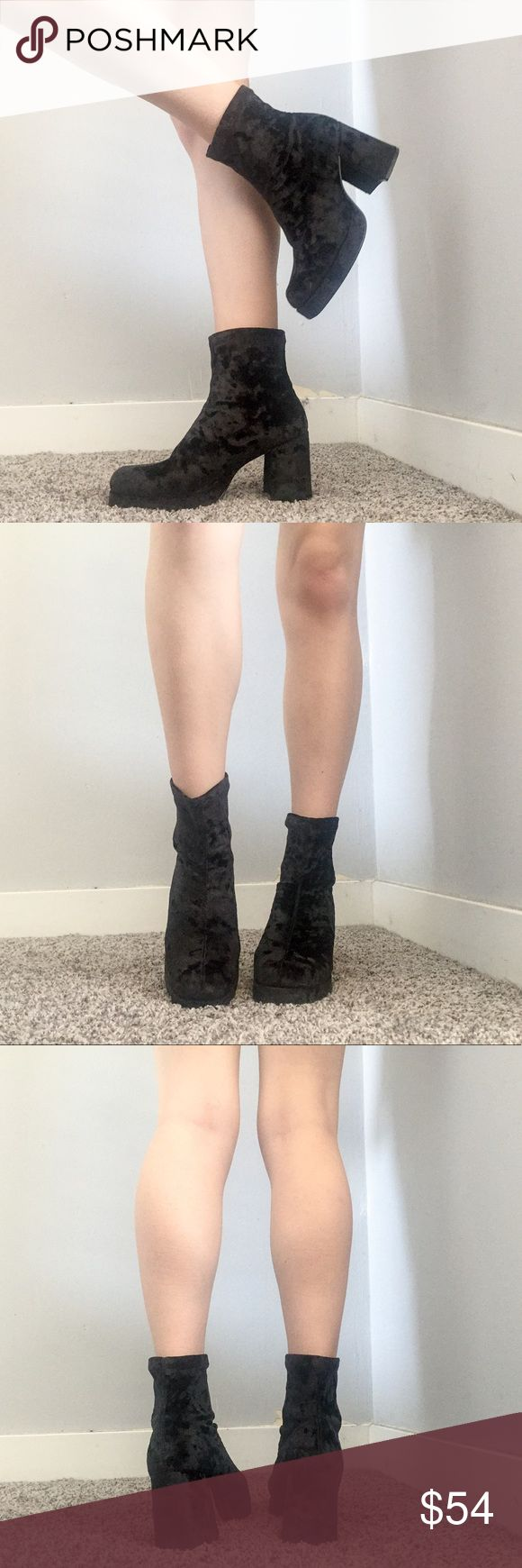 Vintage 90s Black Velvet Platform Boots Black crushed velvet platform sock boots by High Lights. Pre-loved but in great condition. Note: these are vintage, and the aging glue may cause the sole to separate from the shoe. Be sure to keep a bottle of Shoe Goo on hand for an easy fix. Vintage Shoes Ankle Boots & Booties