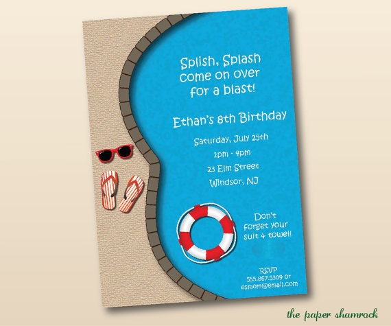 Pool Party Invitation Birthday Pool Party by ThePaperShamrock